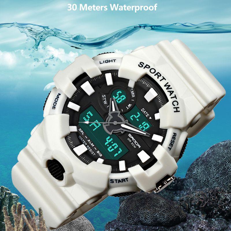 2018 New SANDA Brand Sport Watch Men Military LED Analog Digital Watch Men Waterproof Fashion Casual Electronic Wristwatches 770