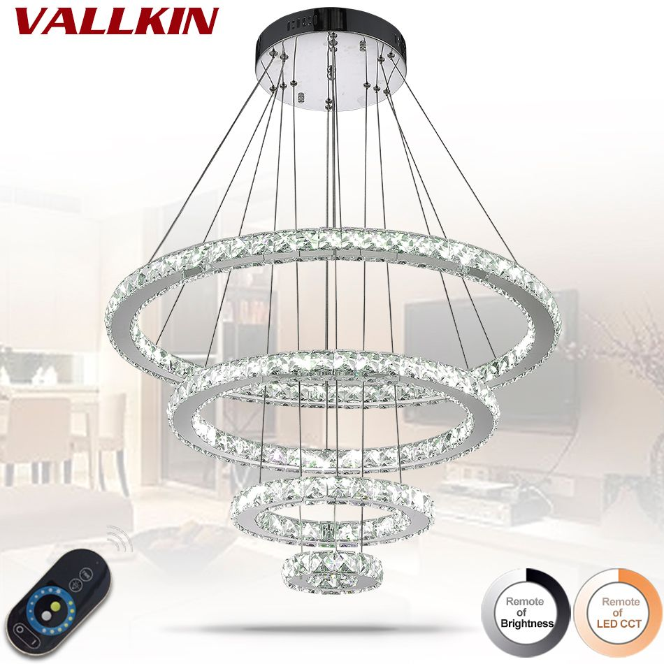 Mirror Stainless Steel Crystal Diamond Lighting 4 Rings led Pendant Lights Cristal Dinning Decorative Hanging Lamp Dimmable