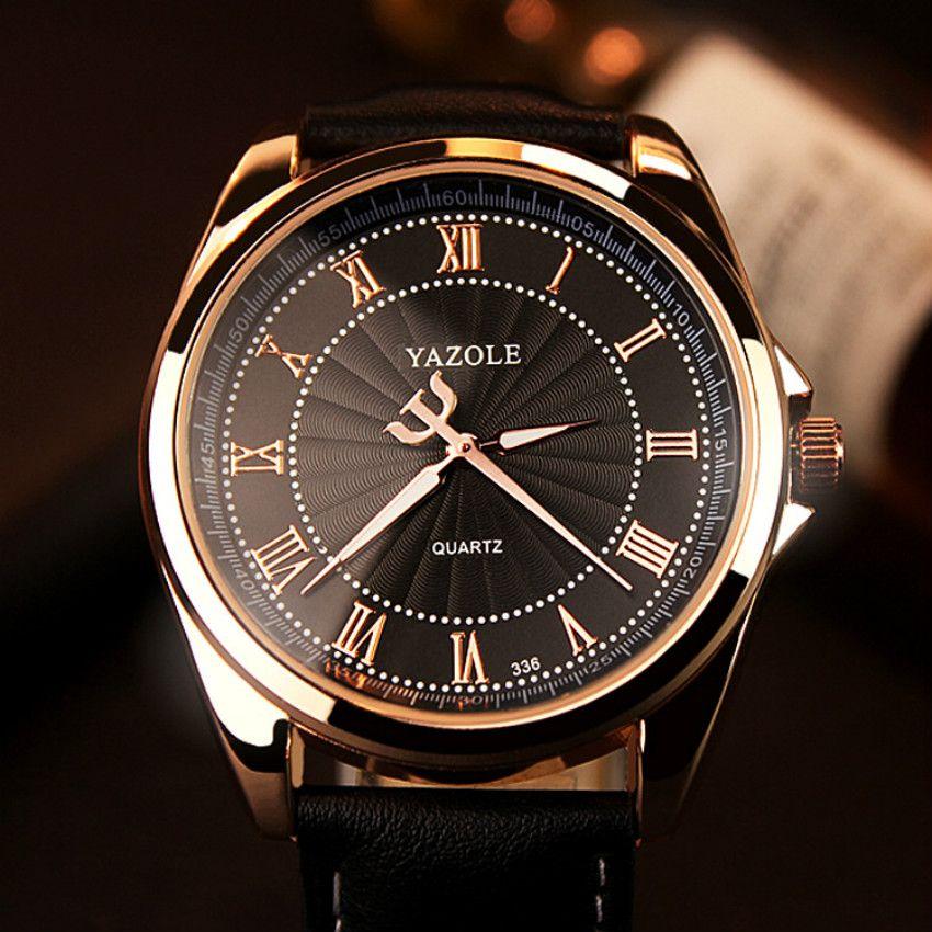 YAZOLE 2019 montre d'affaires hommes Top marque de luxe montres à Quartz classique mode en cuir homme montre-bracelet horloge
