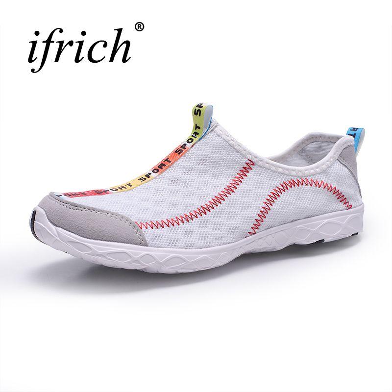 2017 Plus Size Man Women <font><b>Aqua</b></font> Sneakers Sports Shoes Lightweight Water Shoes Women Men Slip On Outdoor Walking Shoes Cheap