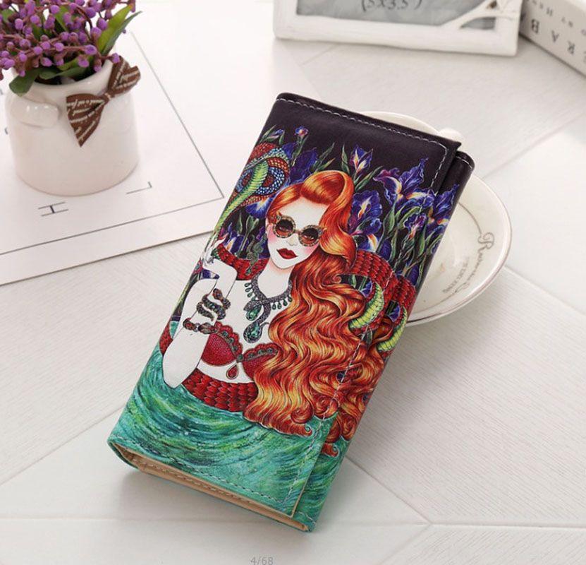 Модные женские туфли бумажник большой Ёмкость искусственная кожа Граффити печати кошелек женский мультфильм молния держателя карты Bolsa ...