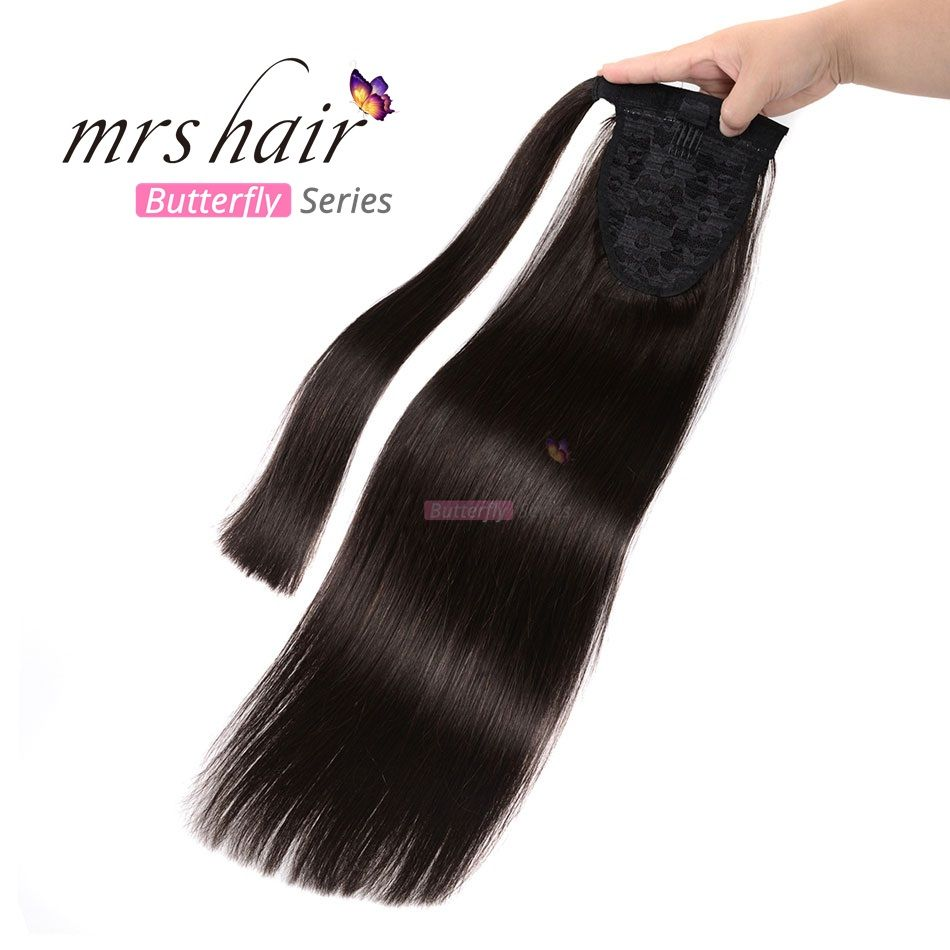MRS HAIR Ponytail Human Hair Clip In Black / Blonde Machine Made Remy Hairpieces Straight Clip In Hair Extensions 14