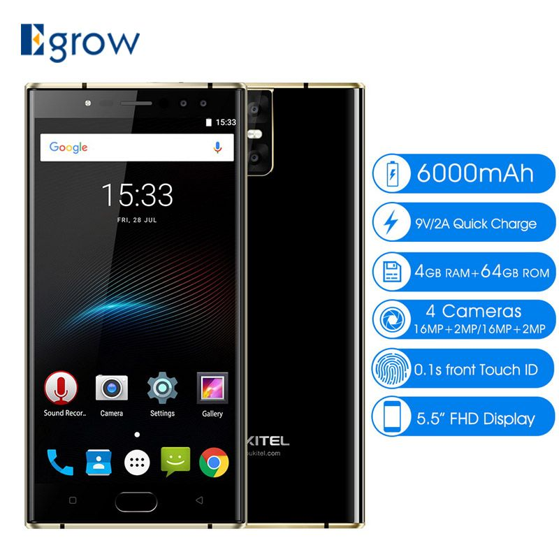 Oukitel K3 16MP+2MP 4 <font><b>Cameras</b></font> Mobile Phone MT6750T Octa Core 4GB+64GB Cell phones 5.5 inch 6000mAh Front Fingerprint Smartphone