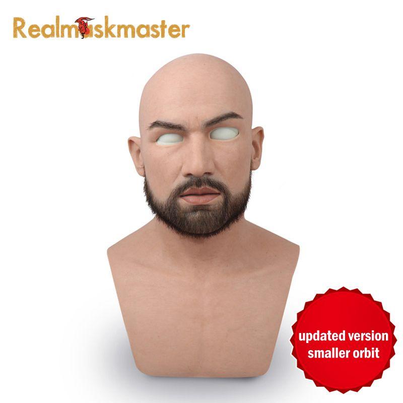 Realmaskmaster männlichen latex realistische erwachsene silikon volle gesicht maske für mann cosplay partei maske fetisch echt haut