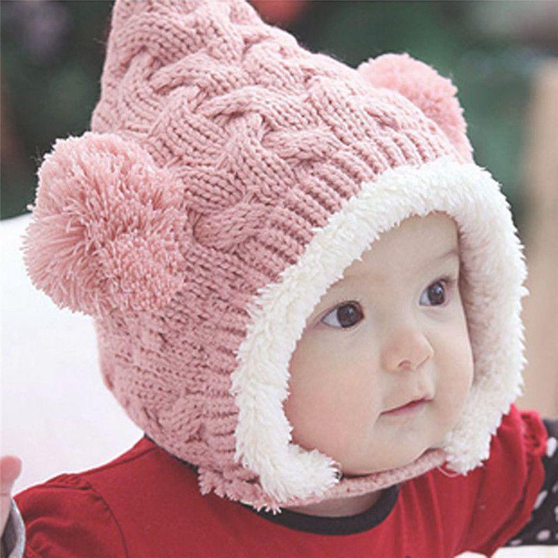 Niña Sombrero Sombreros Para Las Niñas 2017 Otoño Invierno Bebé Caliente Gorras Bolas de doble Oído de Lana del Knit Beanie Niños Sombreros Cap Para Niños Niños