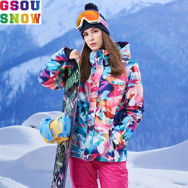 Gsou Snow Brand Лыжная куртка Для женщин красочные сноуборд зимняя куртка Водонепроницаемый лыжный костюм женский Лыжный Спорт Сноубординг дешев...