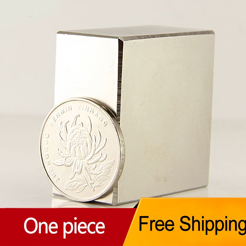 <font><b>1pcs</b></font> Block 40x40x20mm N52 Super Strong pull force 85kg magnets Neodymium Magnet high quality Free shipping Rare Earth
