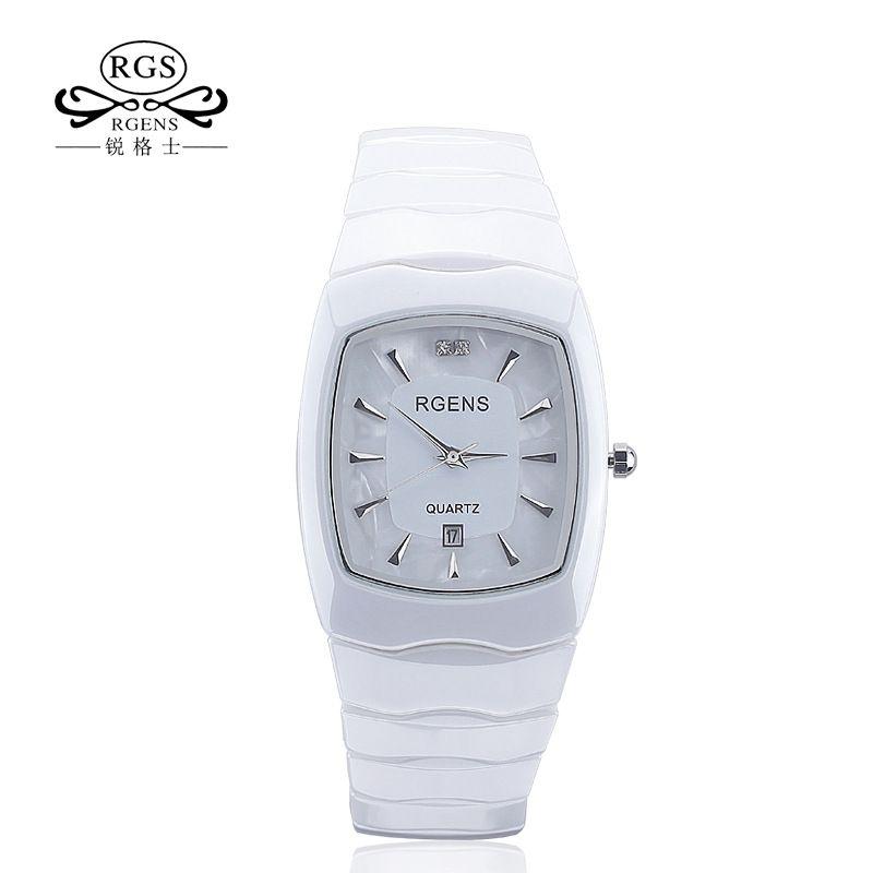 RGENS Original women ceramics wrist watch quartz ladies watches Square casual waterproof wristwatches luxury Diamond number 5508