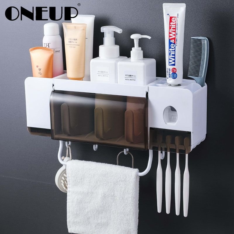 ONEUP toothbrush holder toothpaste squeezer dispenser bathroom accessories sets 5 pcs bathroom storage box case household items