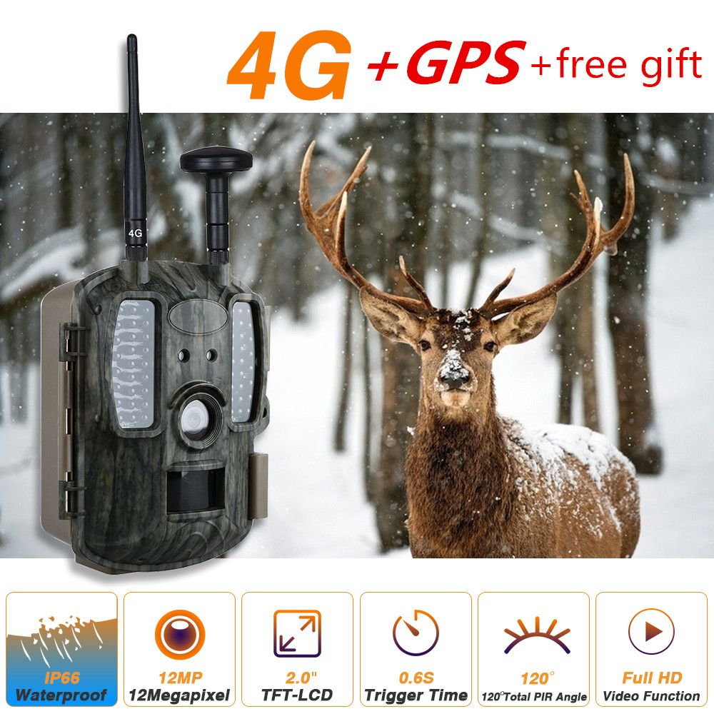 Neueste GPS Jagd Kamera Digital Video Foto Fallen 4G FDD-LTE Jagd Trail Kamera Falle Wilden Kameras mit Doppel Antennen