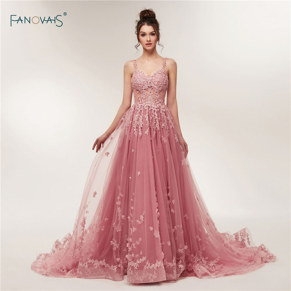 New Custom Made 2018 Evening Dresses Long Straps Beaded Applique Lace Evening Gown Floral Prom Dress Vestido de Fiesta NE7