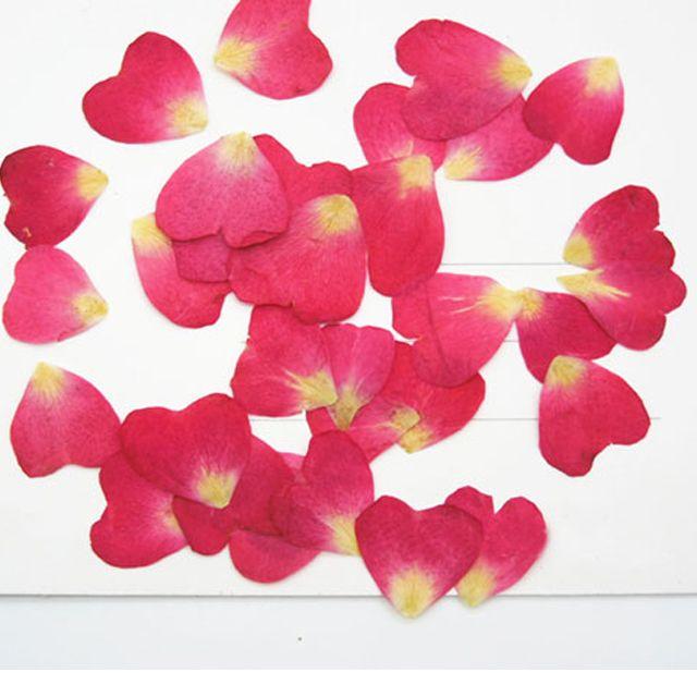Heart shape ROSE PETAL dried pressed flower Locket For Wedding Card Decoration free shipment 200pcs