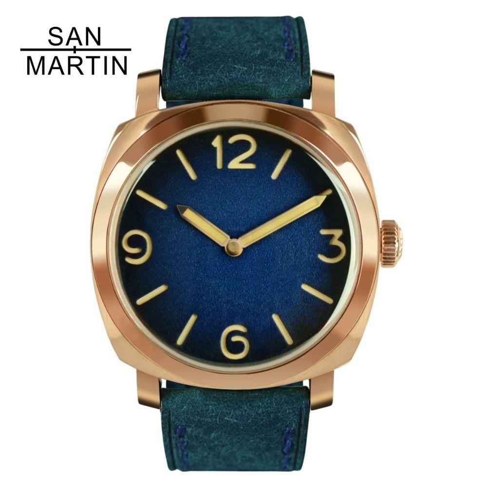 San Martin Vintage Zinn Bronze Uhr Automatische Uhren Tauchen Armbanduhr 100 m Wasserdicht Leucht Hände Uhren Hombre 2018