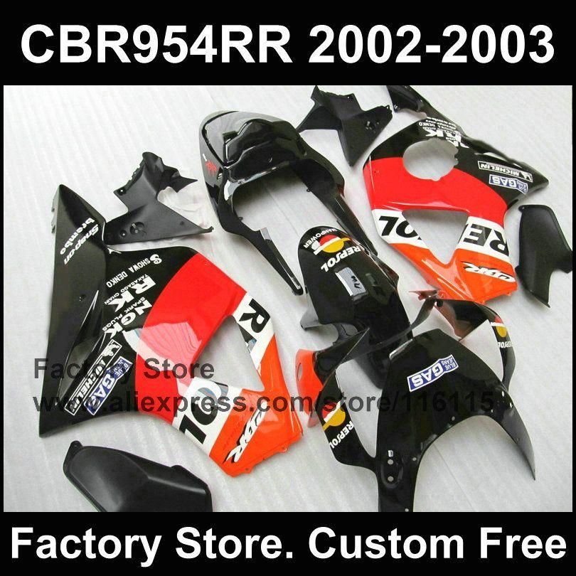 Customize REPSOL fairings for CBR 900RR 2002 2003 fireblade black Compression fairing parts CBR 954 RR CBR 900RR 02 03