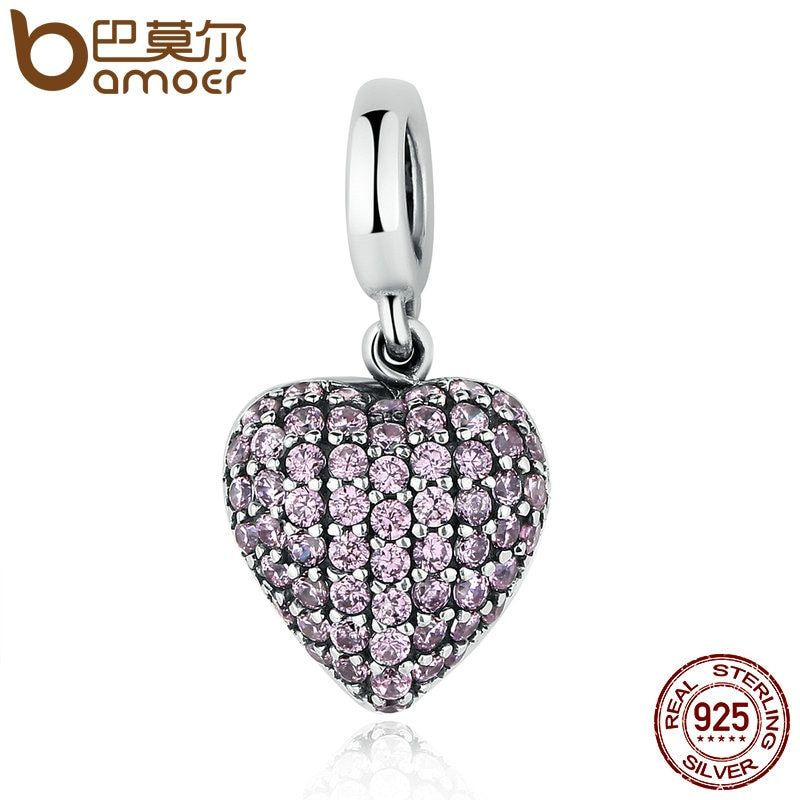 BAMOER Genuine 925 Sterling Silver Pink Heart Love Forever ,Clear CZ Charm Fit Bracelets Jewelry Accessories Making Gift SCC123