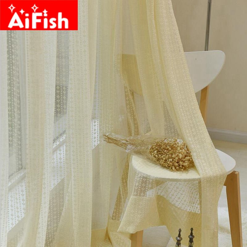 American Rural Vertical Lace Flower Curtain Gauze Screens Pop-style Yellow Window Tulle For Living Room Customization DF083-40