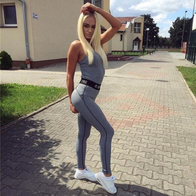 2017 New Gray Patchwork Tracksuit Crop Hooded Top Tanks And Leggings Sporting Skinny Clothing 2 Pieces Hollow Women Clothing