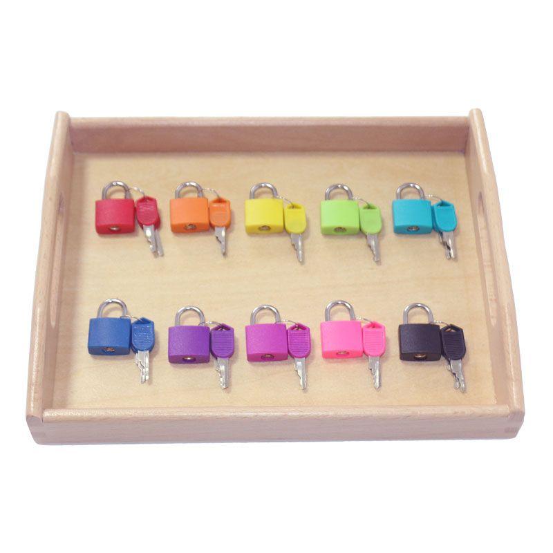 Wooden Montessori Tray Locks Set Educational Sensory Toys For Children Montessori Preschool Sensorial Materials Juguetes ML1344H