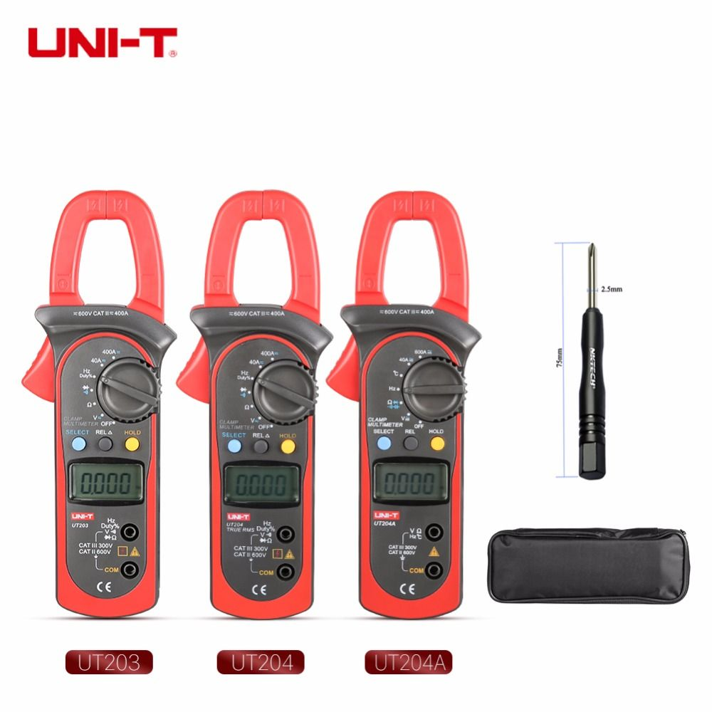 UNI-T Digital Clamp Meter Multimeter UT203 UT204 UT204A AC DC Volt Current Resistance Frequency Duty Cycle Diode Test Auto Range