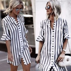 LDZHPS 2018 summer new striped straight shirt casual button V-neck half long sleeve tops Vintage flare sleeve blouse