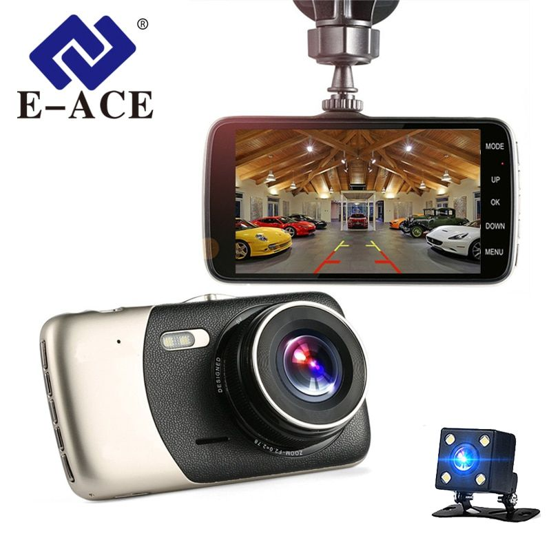 E-ACE Car Dvr 4 Inch Auto Camera Dual Lens FHD 1080P Dash Cam Video Recorder With Rear View Camera Registrator Night Vision DVRs