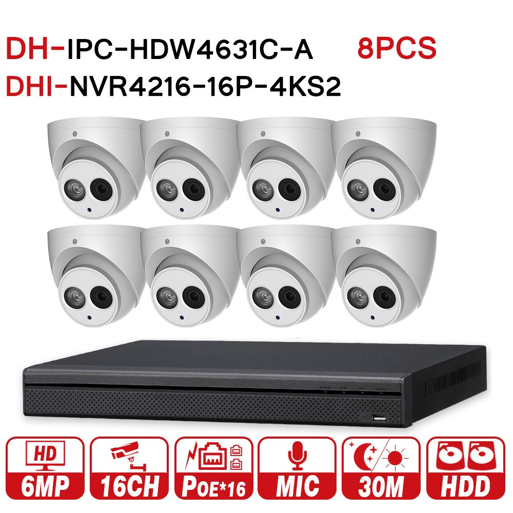 DH Security CCTV System 8PCS 6MP IP Camera IPC-HDW4631C-A & 16POE 4K NVR NVR4216-16P-4KS2 Surveillance P2P Security System
