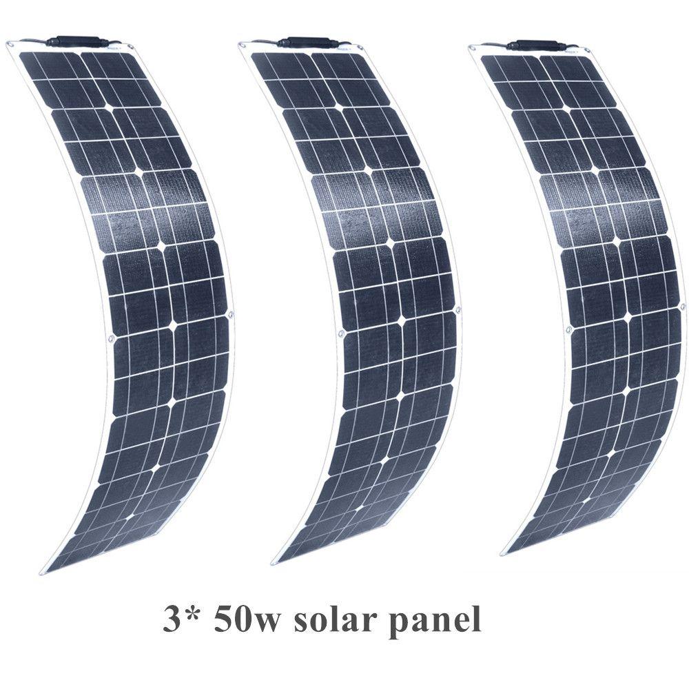 3 stücke 50 W 150 w flexible Monokristalline silizium Solar Panel Modul Batterie Ladegerät mit MC4 Kabel Clip für 12 v ODER 24 V Lade