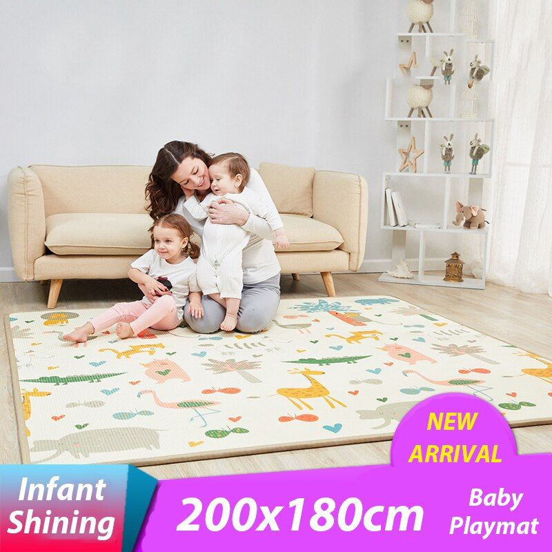 Infant Shining 2 Thickness Baby Play Mat 200*180cm Large Baby Climbing Mat Eco-friendly EPE Carpet Rug Bedroom Blanket