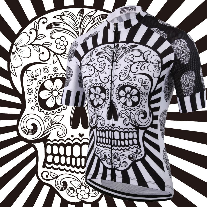 White Skull Sublimation Printing Cycling <font><b>Jersey</b></font> Best 2019 Pro Polyester Bike Wear Summer Men Quick Dry Cycling Top Bicycle Shirt