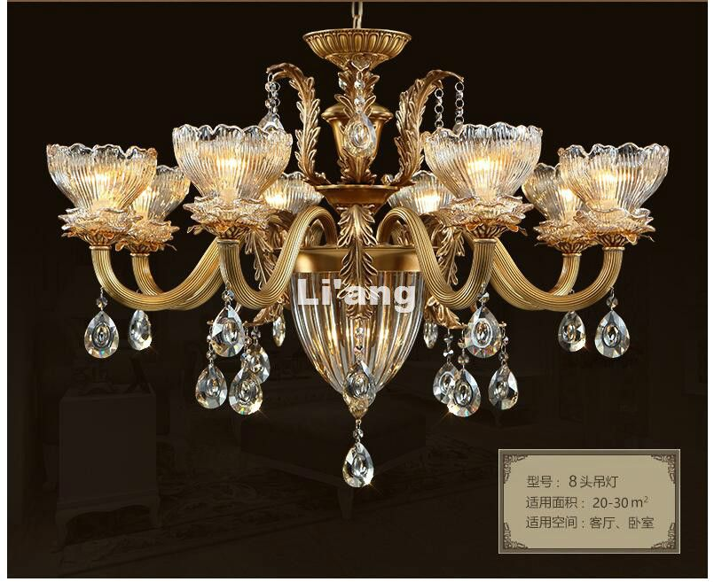 European Brass Chandelier Light Fixture E14 Antique Brass Pendant, Vintage Copper Crystal Lamp Lustres Lighting 100% Guaranteed