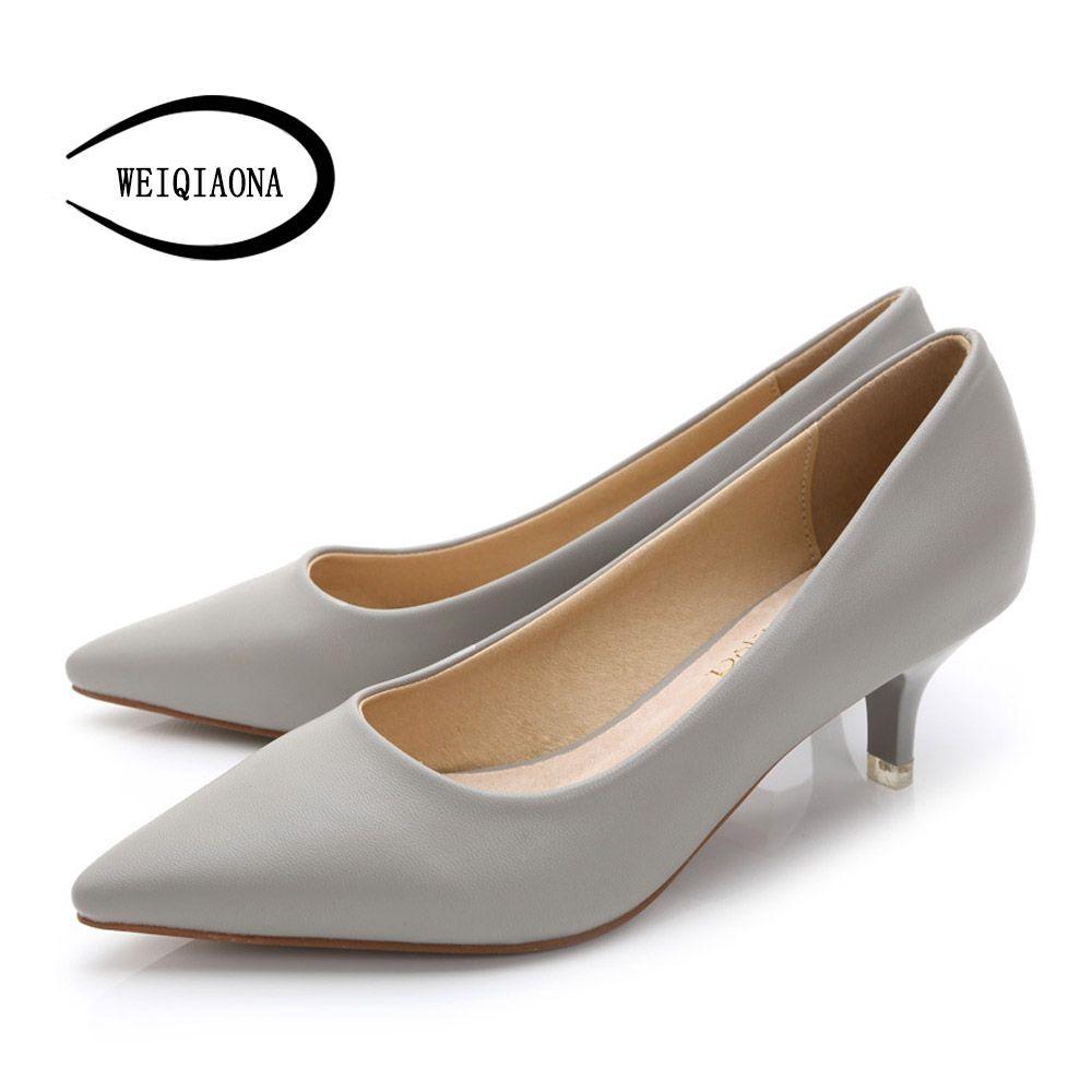 WEIQIAONA 34-43 Woman Shoes Genuine Leather inside Low Heels Women Pumps Stiletto Women's Work shoe <font><b>Pointed</b></font> Toe Wedding Shoes