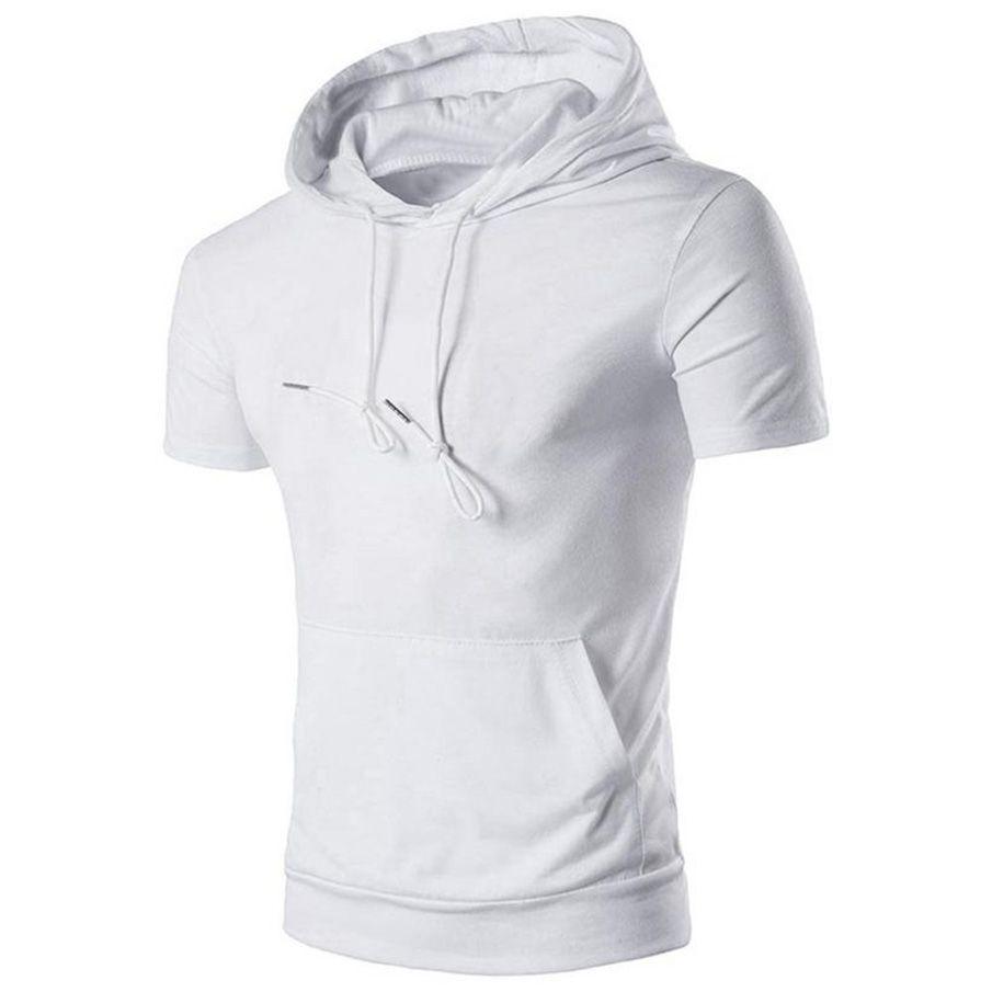 MUQGEW Men's Fashion Short Sleeve Gyms Hoodies Hip Hop Hoodie With a Hood Cotton Sweatshirt Sportive Streetwear Uomo Clothing