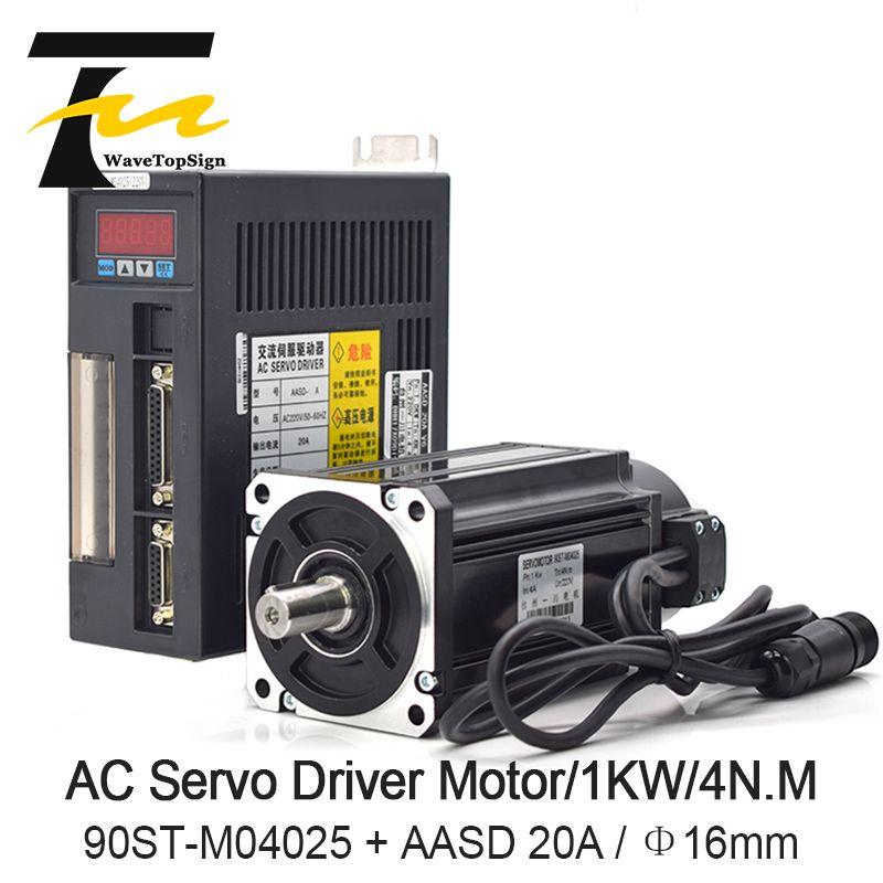WaveTopSign Servo Motor Fahrer 1000 W 4N. MAC Servo Motor 90ST-M04025 + AC Servo Motor Fahrer 220 V AASD 20A für Stecher Und Schneiden