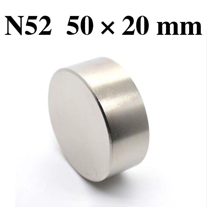 HYSAMTA 1 pièces N52 aimant néodyme 50x20mm métal gallium super fort aimant rond 50*20 aimants Neodimio