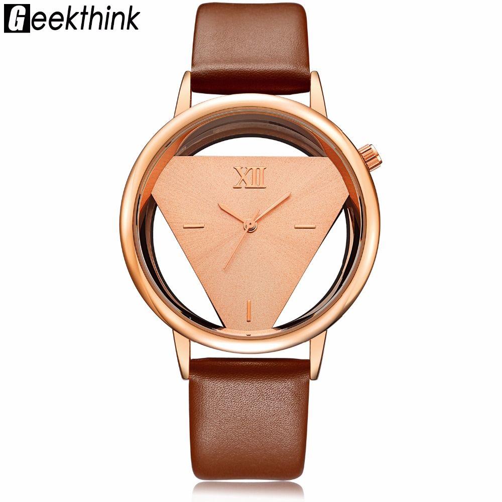 GEEKTHINK Hollow Quartz Watch Women Luxury Brand Gold Ladies Casual Dress Leather band Clock Female Girls Trending