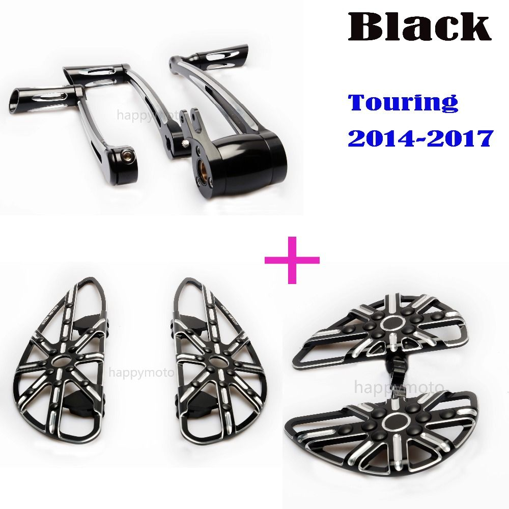 Motorcycle accessories Black Front Driver Floorboards rear pegs foot pegs brake arm Shift levers FOR Harley Touring 2014-2016