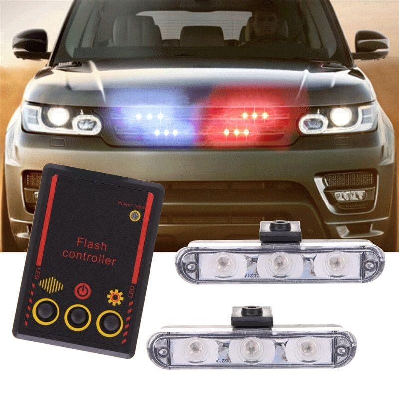 Best Quality 2x3/Led Ambulance Police light DC 12V Car Light Flashing Firemen Lights Blue Strobe Warning light Car-Styling