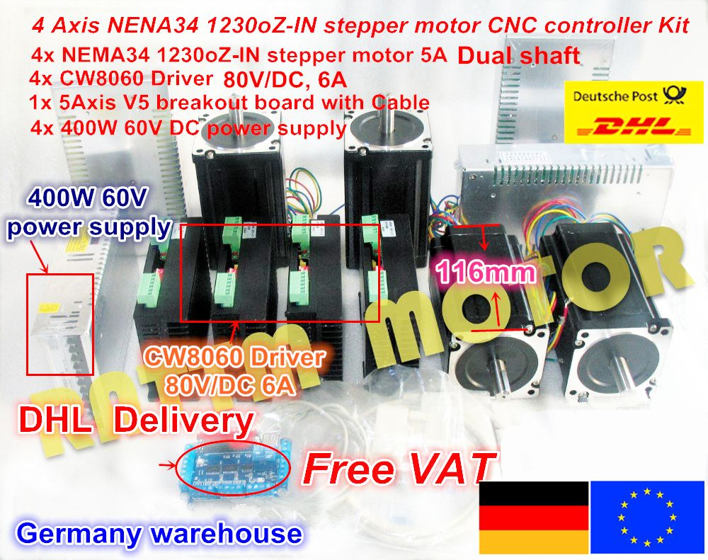 4 Axis CNC controller kit Nema 34 1230 Oz-in/5.0A Stepper Motor Dual shaft & Driver 6A/80VDC 256 for CNC Router Milling Machine