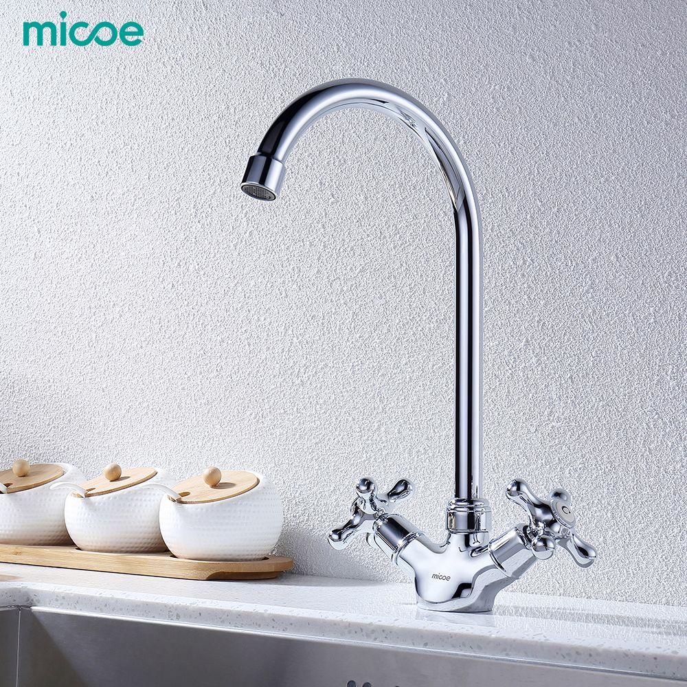 Micoe robinet de cuisine robinets de cuisine évier mélangeur robinets monté sur le pont Chrome poli robinet de lavabo eau chaude et froide mitigeur pivotant H-HC117