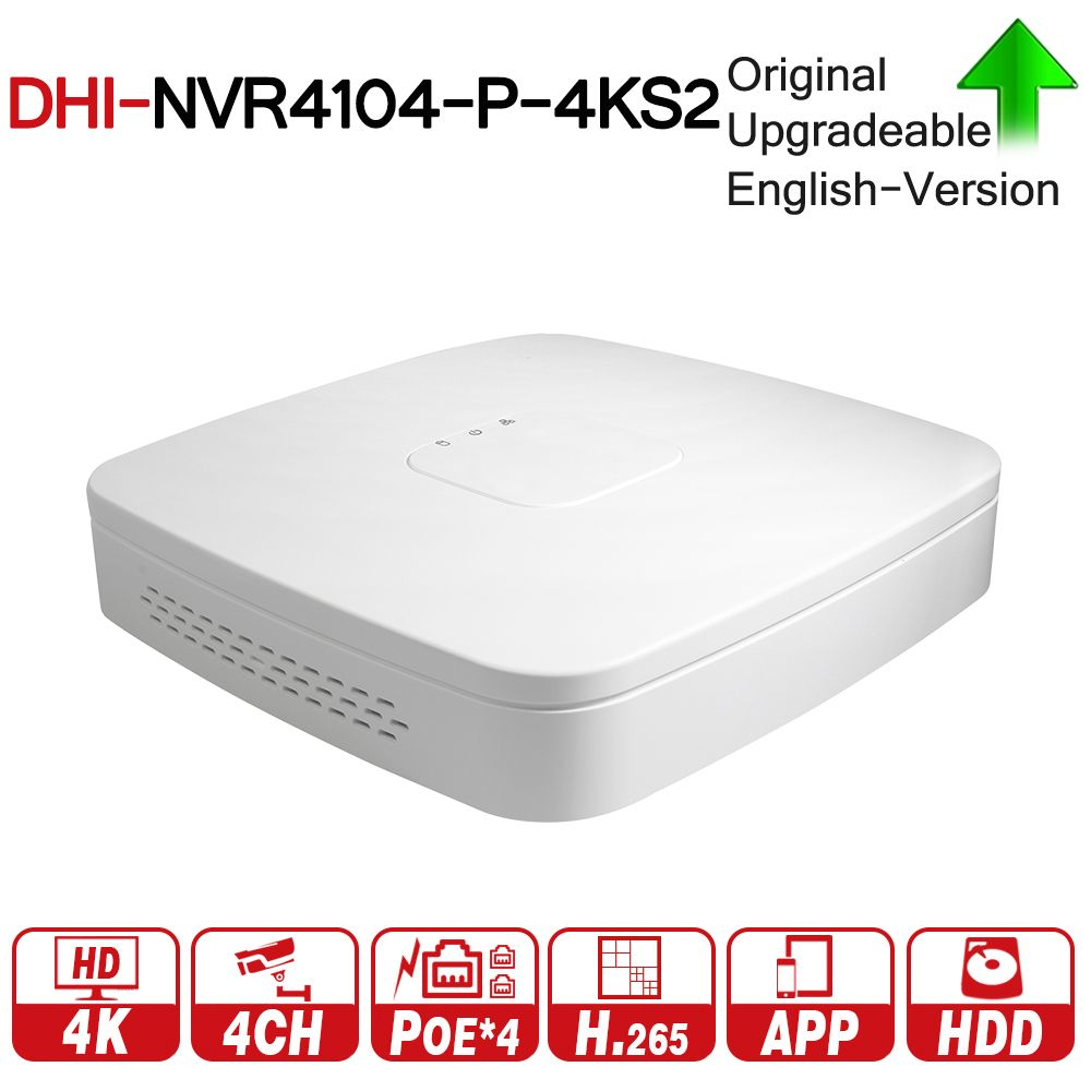 DH 4K POE NVR NVR4104-P-4KS2 With 4ch PoE h.265 Video Recorder Support ONVIF 2.4 SDK CGI White POE NVR For DH CCTV System