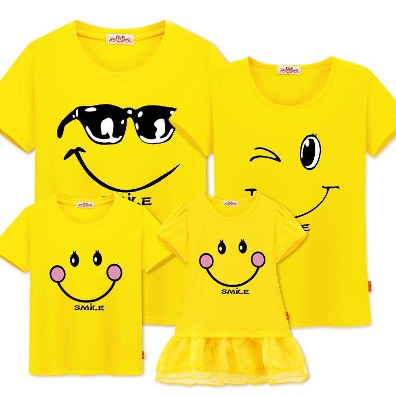 Famille correspondant vêtements mère fille robes tenues coton décontracté T-shirts famille Look coton mère père fils vêtements