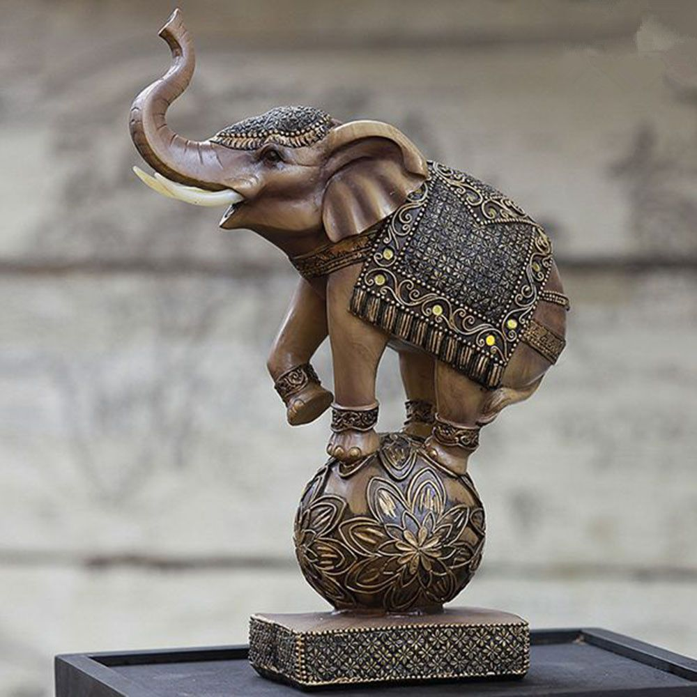 Elegant Elephant Playing the Ball Retro Resin Ornaments Home/Office Desktop Decoration Minimalist Best Gift, Free Shipping