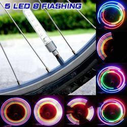 2 Pcs Tutup Batang Katup Ban Neon Light Mountain Road Sepeda Lampu Sepeda 5 LED Flash Ban Tutup Katup Ban roda Spam Lampu LED