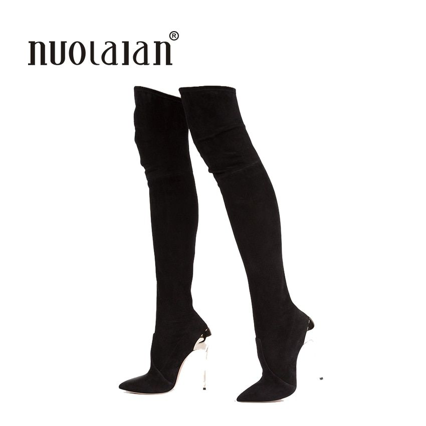 2017 Autumn Winter Women Boots Stretch Faux Suede Slim Thigh High Boots Fashion Sexy Over the Knee Boots High Heels Shoes Woman