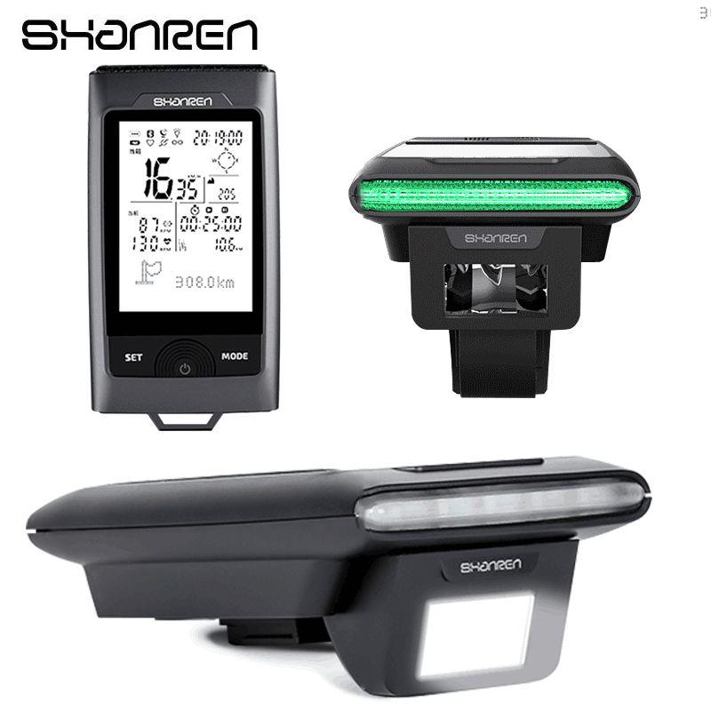 SHANREN Fahrrad Licht 2 in 1 Bluetooth GPS Fahrrad Computer Tacho Scheinwerfer Wasserdicht Radfahren Lampe Computer Bike Zubehör