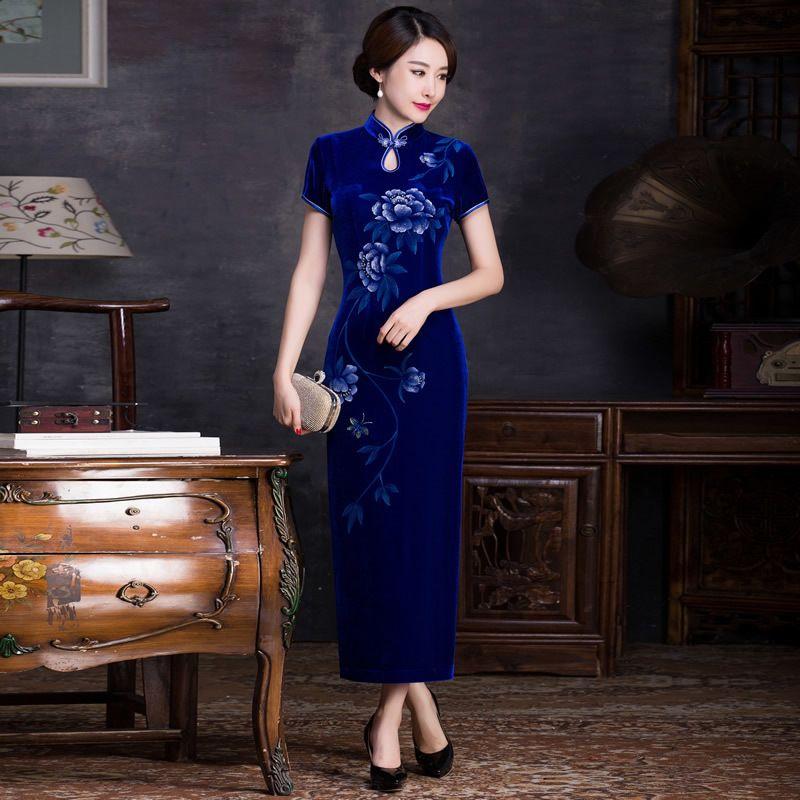 Clásica Cheongsam Largo Atractivo Azul Vestido de Novia de Moda Vestido de Noche Chino Tradicional Qipao Moderno Mujer Traje Chinoise