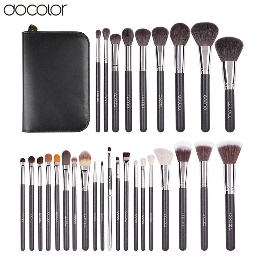Docolor 29PCS High Quality Makeup Set With Case Professional Cosmetic Brush set Nature Bristle Make up Brushes Makeup Tool
