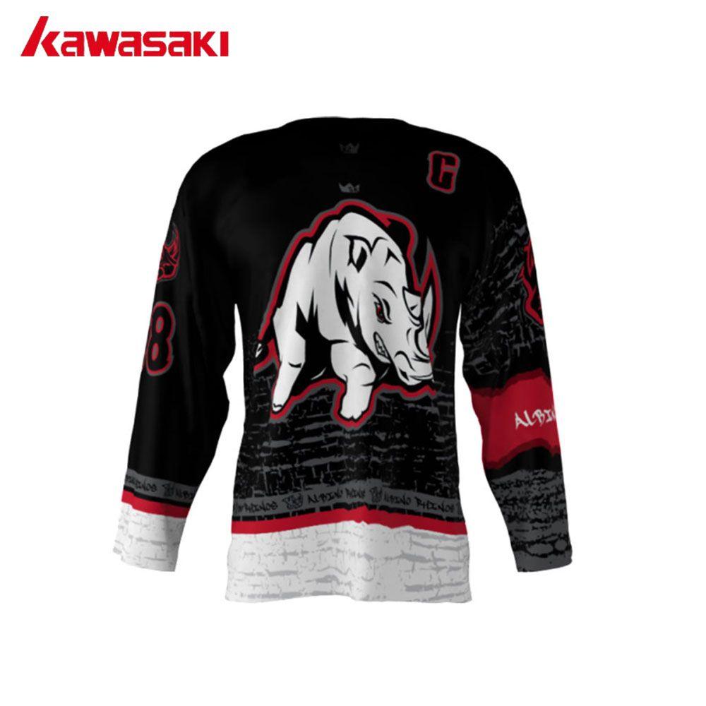Kawasaki пользовательские Хоккей Джерси Топ мужские albino носорогов мультфильм дышащий Обучение Спорт Хоккей команда Износ Рубашка Майки
