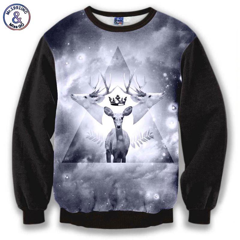 Mr.1991inc dreieck harajuku sweatshirt männer tops druck 3 hirsche elch raum galaxy hoodies schöne beiläufigen sweatshirt