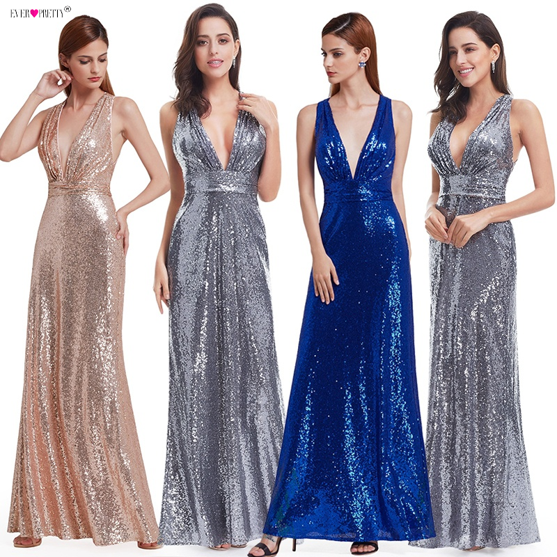 Evening Dress Sparkle Ever Pretty Long Deep V-Neck 2018 Natural Waist EP07109GY Mesh Cross Back Shiny Sequin Evening Dress Gowns
